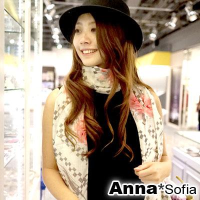 AnnaSofia-玫瑰方塊-薄款純羊毛圍巾-粉花系