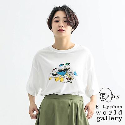 E hyphen Disney聯名款-唐老鴨家族趣味打印T恤