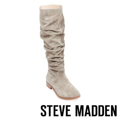 STEVE MADDEN-BEACON 麂皮摺皺及膝長靴-灰色