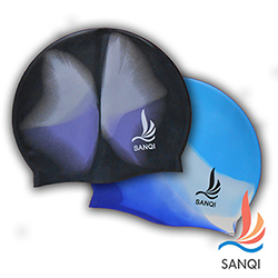 SANQI三奇 高彈力100%純矽膠SANQI泳帽(八色可選)