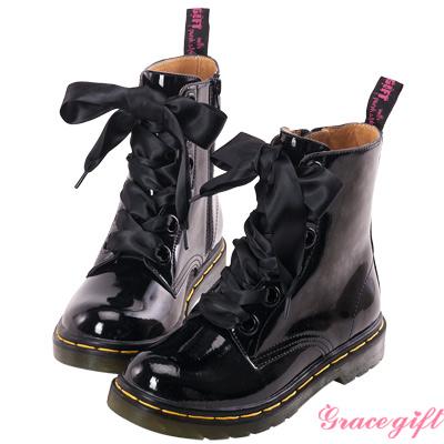 Grace gift-全真皮緞帶馬汀短靴 亮黑