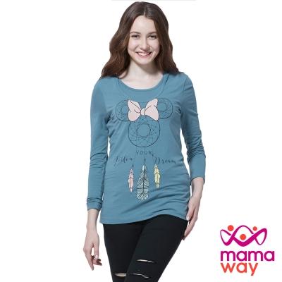 孕婦裝 哺乳衣 迪士尼米妮捕夢網孕哺彈性T Mamaway