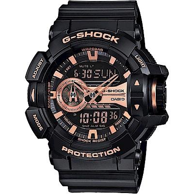 CASIO卡西歐 G-SHOCK 金屬系雙顯手錶-玫瑰金x黑