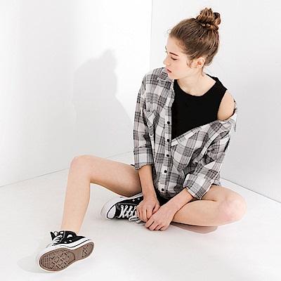 CACO-格紋假兩件式襯衫(兩色)-女【PSH091】