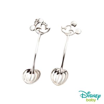 Disney迪士尼系列金飾 純銀湯匙木盒套組-米奇+美妮款