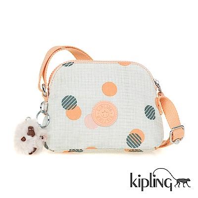 Kipling 斜背包 清新橘圓點印花-小