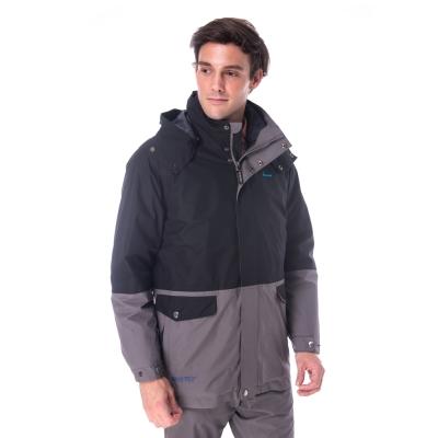 【hilltop山頂鳥】男款GoreTex兩件式防水羽絨拆袖短大衣F22MT4黑