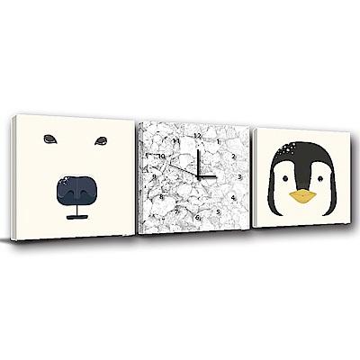 24mama掛畫-三聯式方型 掛畫無框畫 極地動物 50x50cm