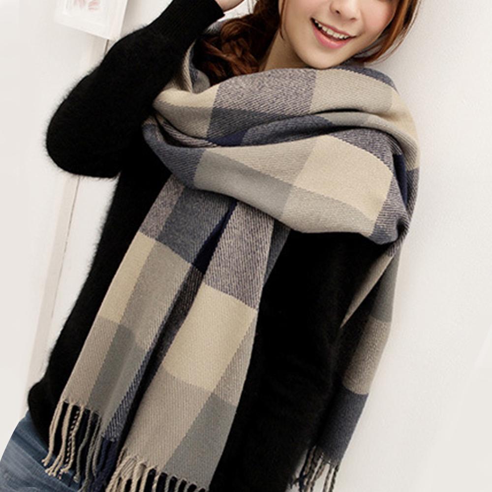幸福揚邑 羊絨質感格紋保暖圍巾/披肩-藍灰格