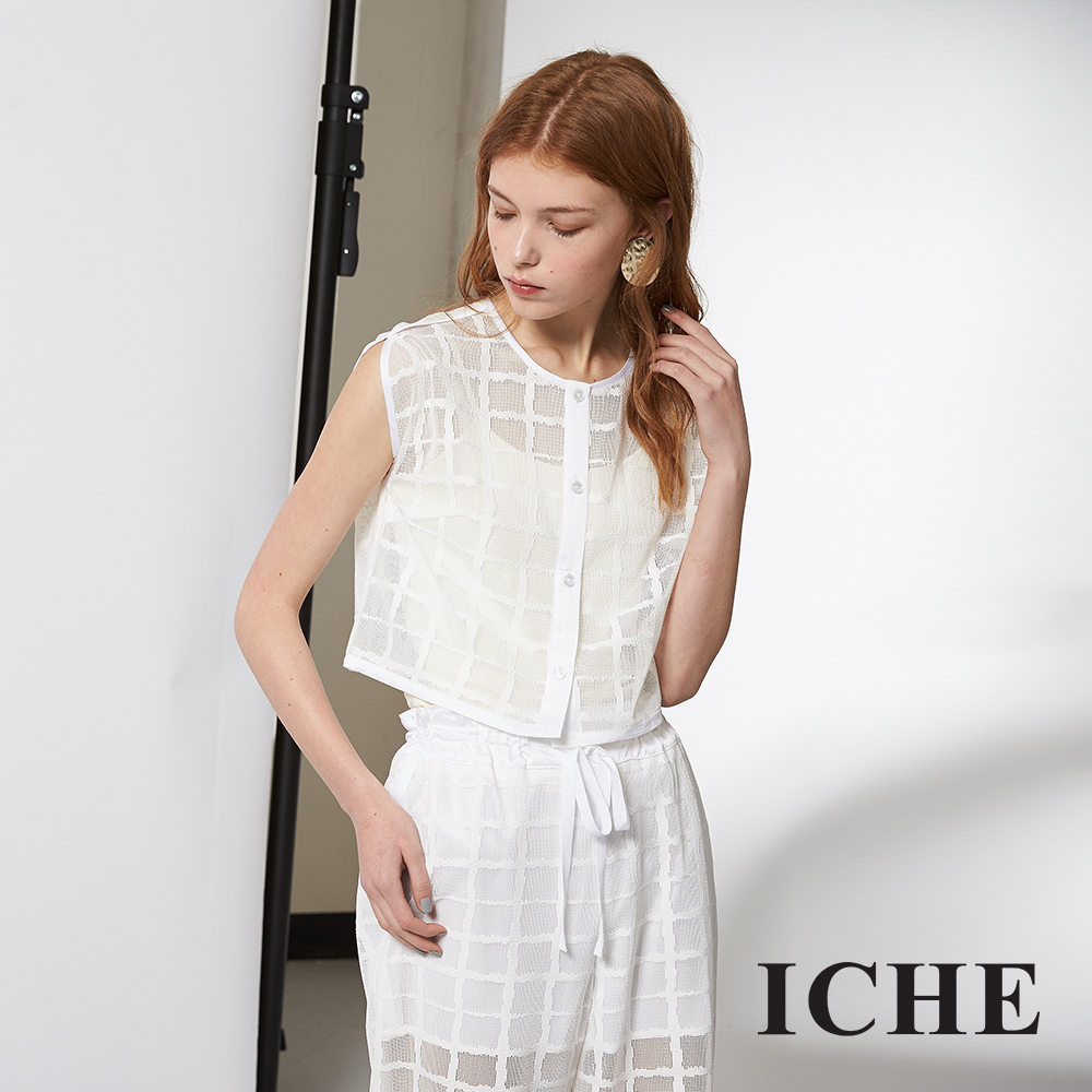ICHE 衣哲 輕時尚英式格紋造型短版上衣/套裝