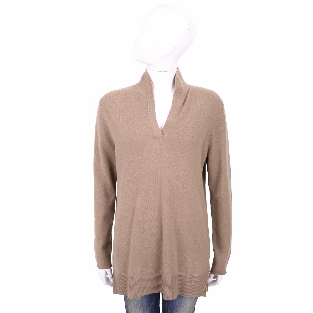 ALLUDE 100%喀什米爾可可棕立領針織羊毛衫