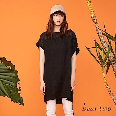 beartwo 運動線條寬鬆感雪紡洋裝(黑色)