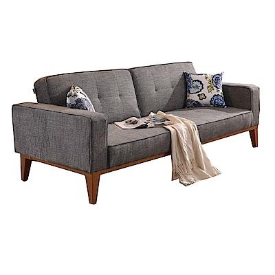 品家居 摩爾根灰棉麻布展開式沙發床-208x90x78cm-免組