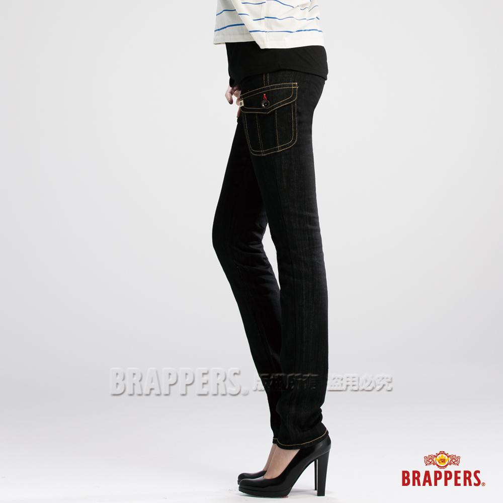 BRAPPERS 女款 新美腳 Royal 系列-女用彈性假口袋AB褲-黑