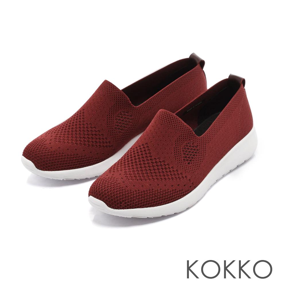 KOKKO-洞洞透氣編織輕量懶人休閒鞋-火焰紅