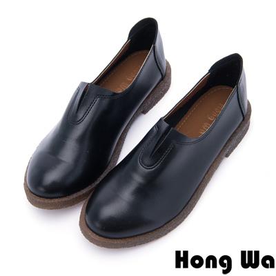 Hong Wa - 素面設計保暖休閒懶人便鞋 - 黑