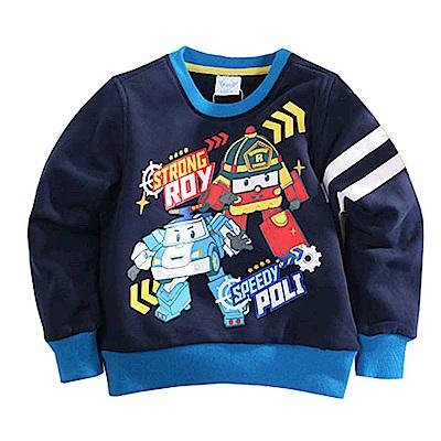 POLI波力厚刷毛長袖T恤 藍 k60546