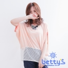 betty's貝蒂思 圓領條紋拼接下擺蕾絲布針織衫(淺桔)