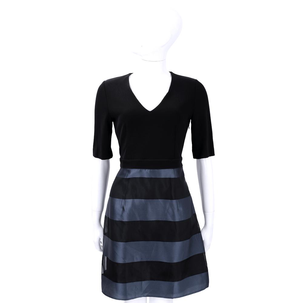 MARELLA 黑色V領拼接條紋短袖洋裝