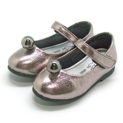 天使童鞋-F5012 金屬爆裂紋公主鞋(小童)-璀璨銀