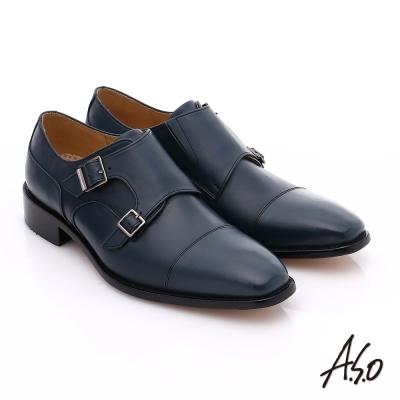 A.S.O 尊榮青紳 全牛皮雙排釦紳士鞋 藍色