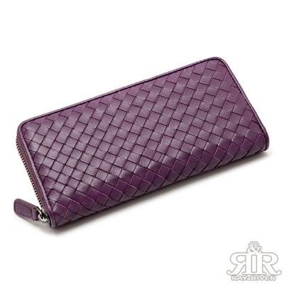 2R 細呢鬆軟 羊皮編織拉鍊長夾 蘿蘭紫