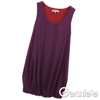 Gennie-s奇妮-沉靜花苞棉質孕婦背心洋裝-紫