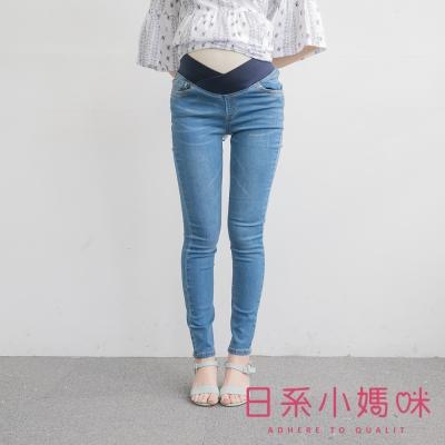 日系小媽咪孕婦裝-孕婦褲-顯瘦貓抓窄管牛仔褲-S