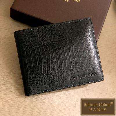 Roberta Colum - 經典鱷魚紋真皮系基本款左右翻<b>12</b>卡<b>2</b>照短夾-共<b>2</b>色
