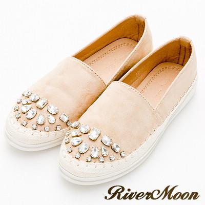 River&Moon大尺碼-晶鑽細絨麻編休閒懶人鞋-杏