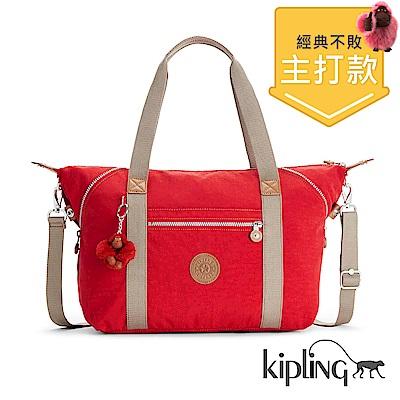 Kipling 手提包 櫻桃紅撞色-大