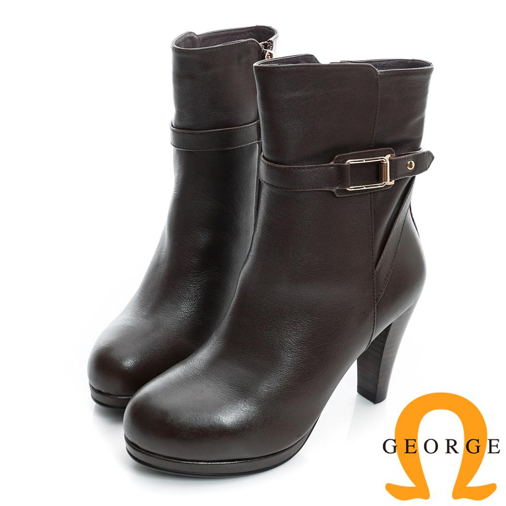 GEORGE-經典素面皮帶扣真皮高跟短靴-咖啡色