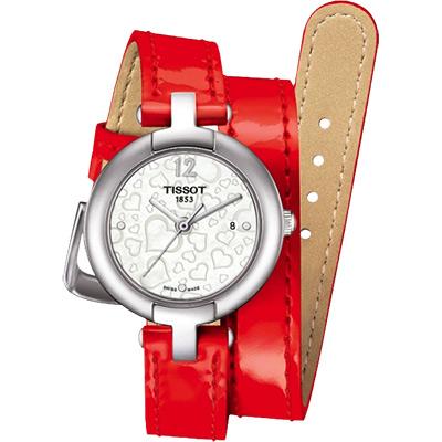 TISSOT Pinky 戀人絮語真愛腕錶-珍珠貝x紅/28mm
