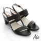 A.S.O 軟芯系列 蠟感真皮簡約低粗跟涼鞋