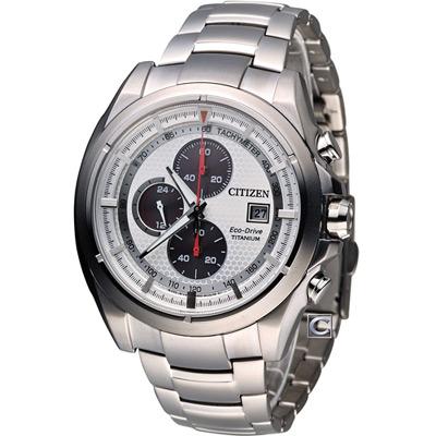 CITIZEN Eco-Drive 鈦光動能三眼計時腕錶(CA0551-50A)-白/44mm