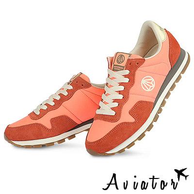 Aviator*韓國空運-PAPERPLANES正韓製麂皮復古撞色運動鞋-粉