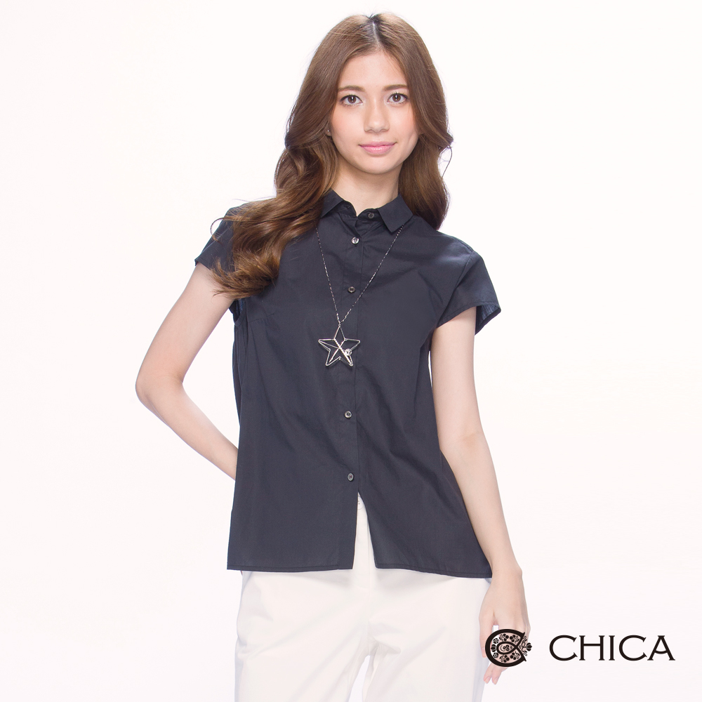 CHICA 輕熟簡約感素面短版襯衫(2色)