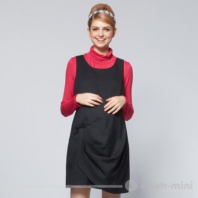 【ohoh-mini 孕婦裝】蝴蝶結不對稱抓縐背心洋裝