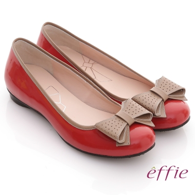 effie 俏甜女伶 鏡面羊皮立體蝴蝶平底鞋 紅