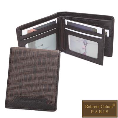 Roberta Colum - 雅痞幾何系真皮款8卡<b>2</b>照左右翻短夾