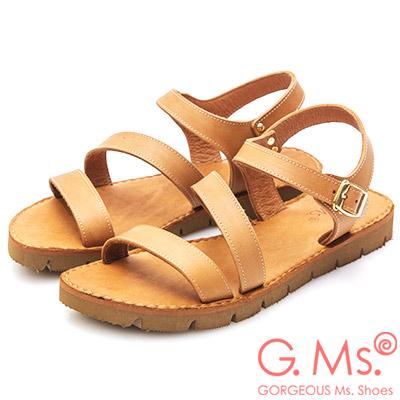 G.Ms. MIT系列~牛皮一字繞踝鋸齒底涼鞋~咖啡