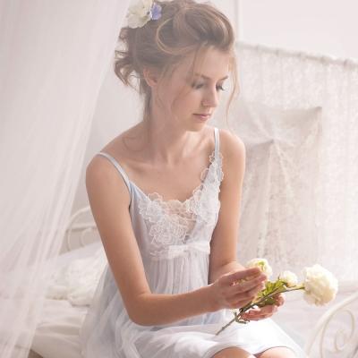 羅絲美睡衣 - 花仙子細肩短版洋裝睡衣 (優雅藍)