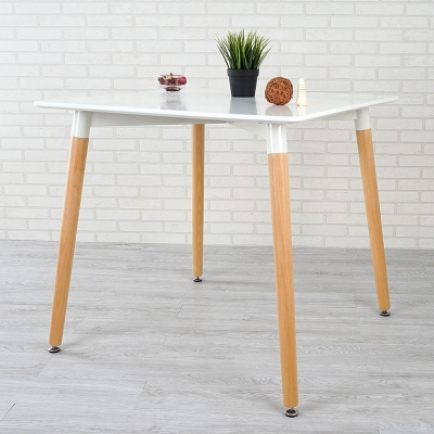 Homelike 麗茲北歐風餐桌(亮麗白)-80x80x74cm