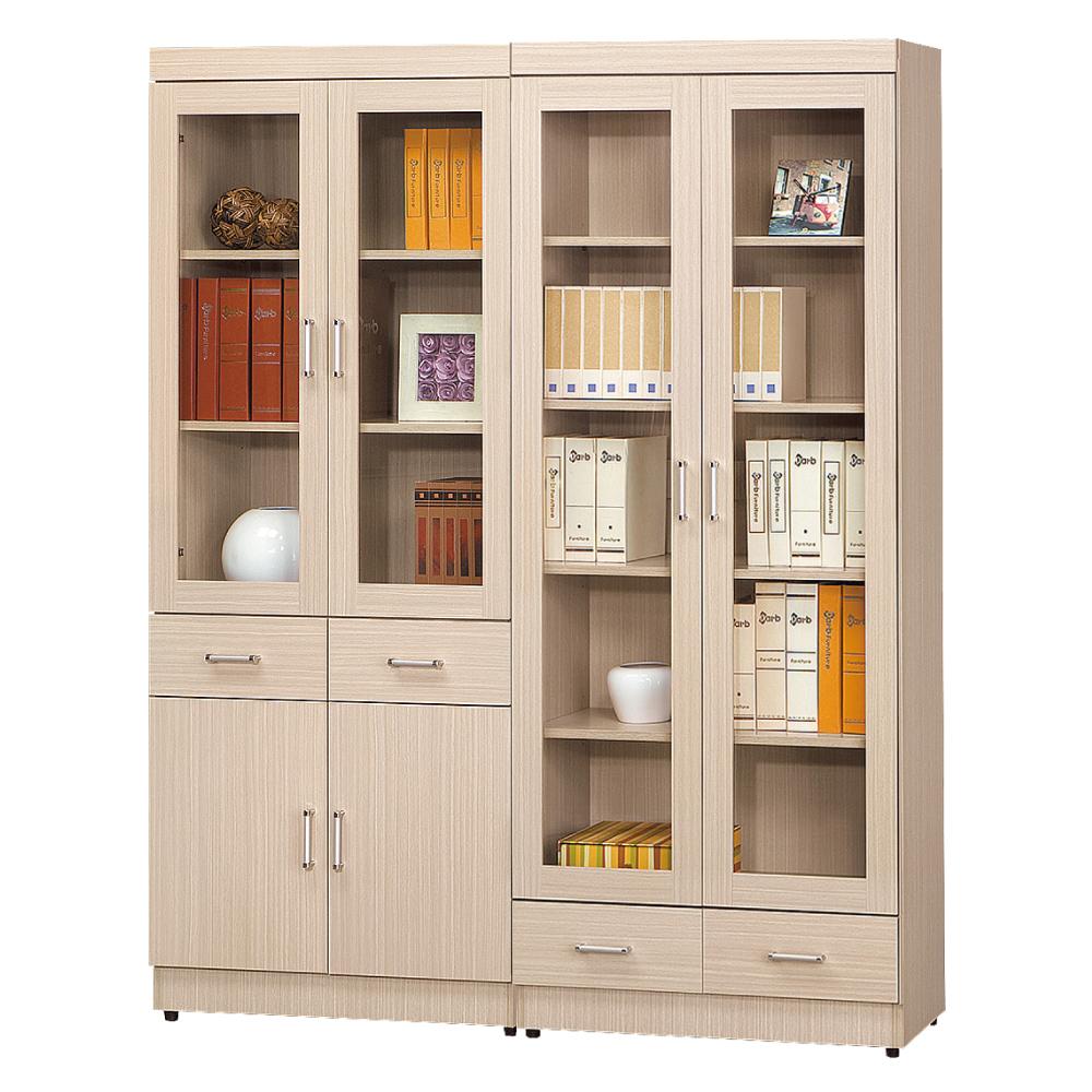 AS 塔克白橡色5.2尺書櫥 160x32x185cm