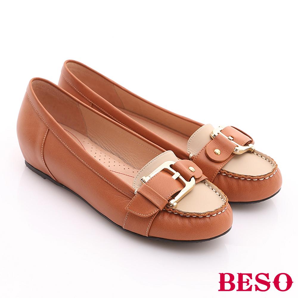 BESO 俏麗悠活 全真皮撞色金屬飾扣內增高鞋 橘