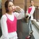 正韓 素面針織短版細肩背心(粉) Pink東