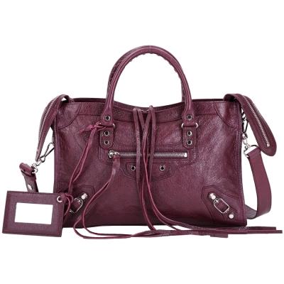 BALENCIAGA Classic City S 小羊皮銀釦機車包(紫紅色)