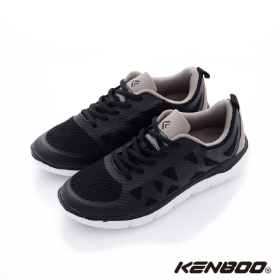 【KENBOO】 虛實之間 輕量透氣加高慢跑鞋-黑