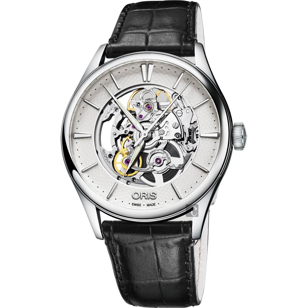 ORIS豪利時 Artelier Skeleton 雙鏤空機械腕錶-銀x黑/40mm