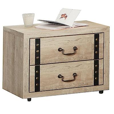 品家居 普多瑪1.8尺原木紋二抽床頭櫃-55x40x45cm-免組